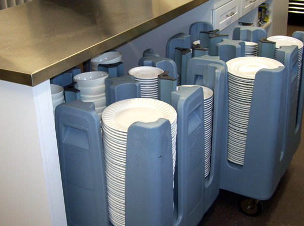 Roll-out storage for dishes - St Marks Anglican Church